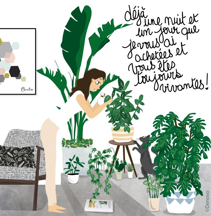 dessin sur les plantes au printemps
