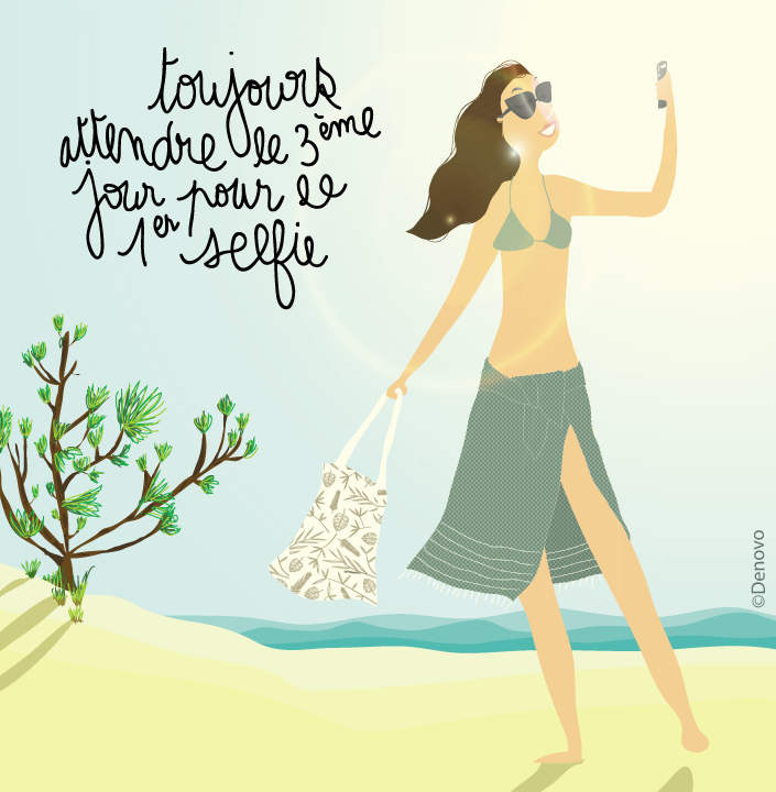 Dessin femme plage selfie