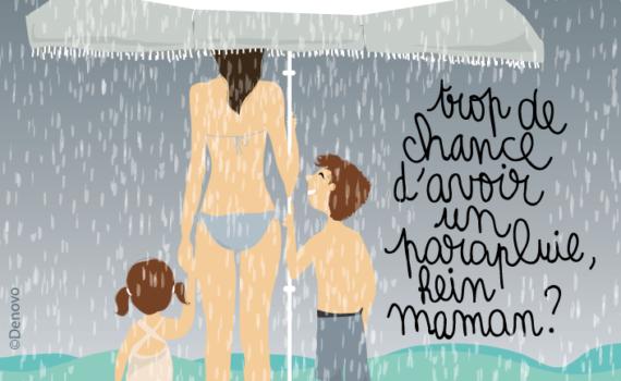 illustration pour denovo cosmétique dessin femme enfants plage