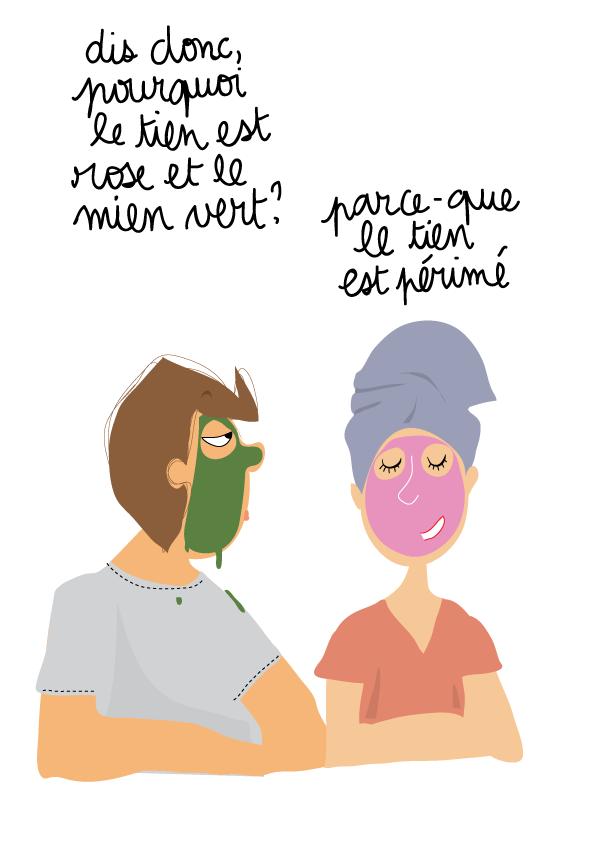 dessin humour ado masque de beauté