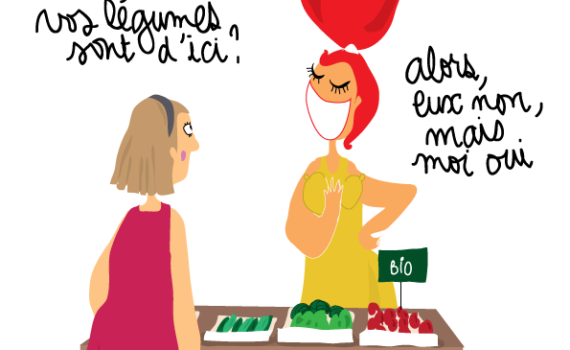 dessin humoristique sur le court circuit paysan et alimentaire