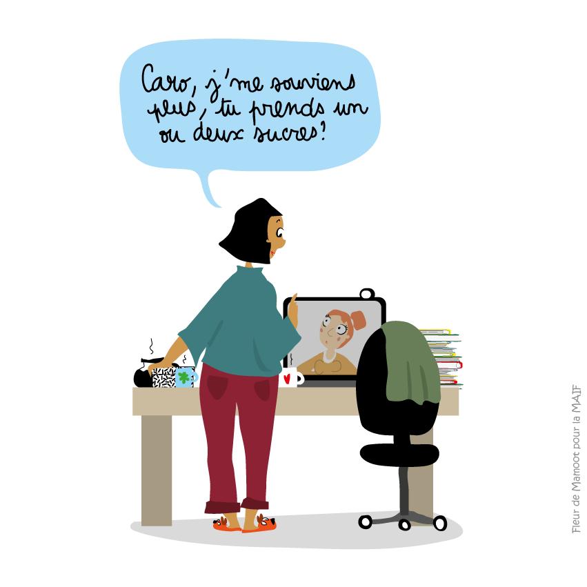dessin-humour-pause-café-virtuelle-equipe-manager